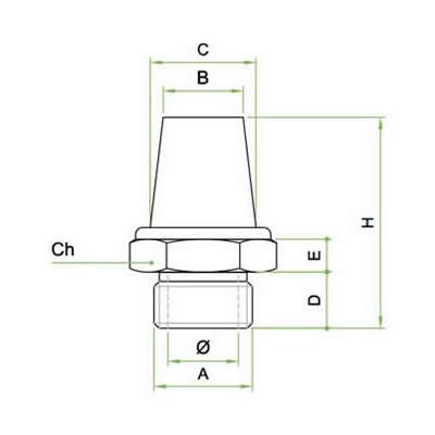 Silenziatore conico in bronzo sferico sinterizzato ribattuto su base esagonale ottone