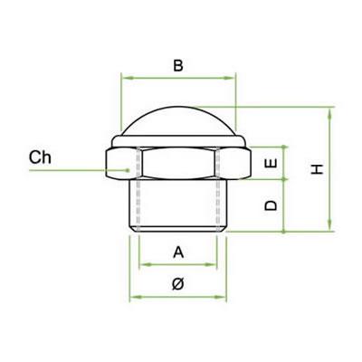 Silenziatore con cupola in filo inox AISI 304 ribattuta su base esagonale in ottone filettatura femmina
